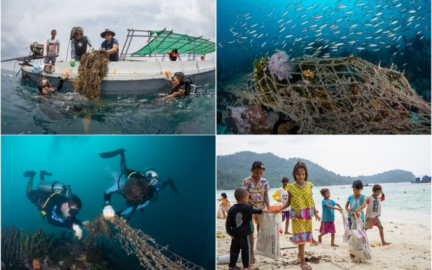 Mianmare iš jūros traukiami paskendę žvejų tinklai (nuotr. Magnus Larsson)