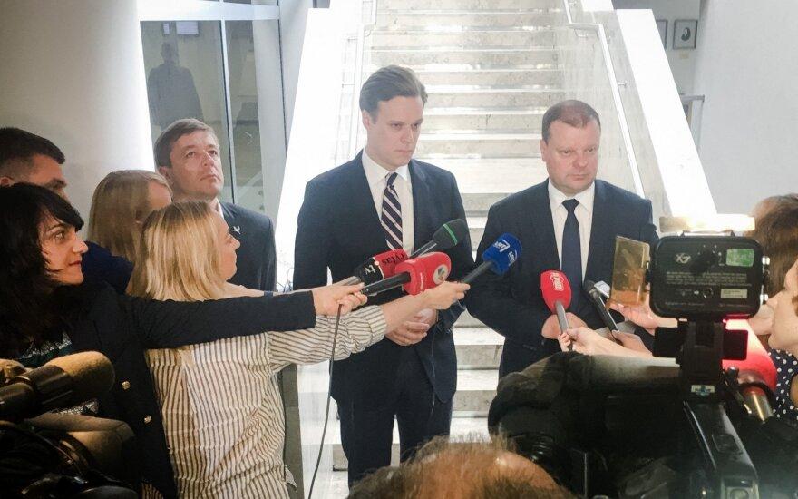 Ramūnas Karbauskis, Gabrielius Landsbergis and Saulius Skvernelis