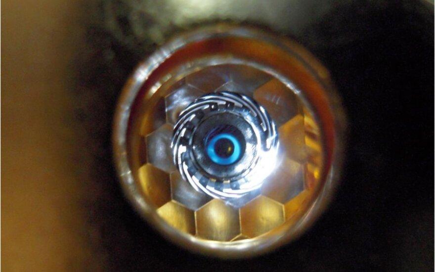 Lazerių taikinys, stebimas per spindulio įėjimo angą (NIF nuotr.)