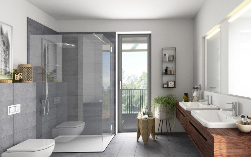 Pilkas vonios interjeras