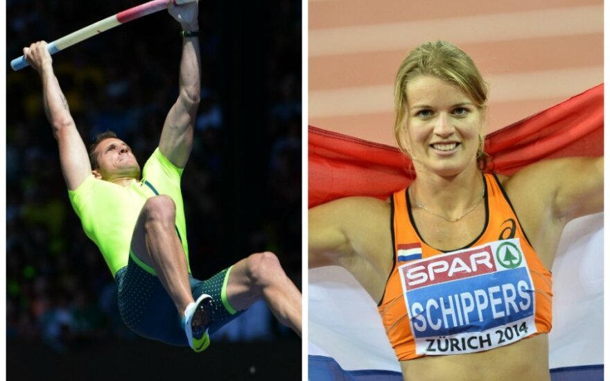 Renaud Lavillenie ir Dafne Schippers (Rueters/Scanpix nuotr.)