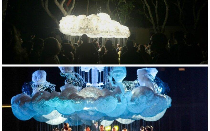 """Instaliacija """"Cloud"""" ir Kauno eglė"""