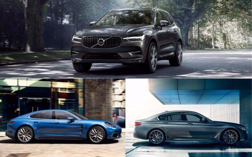 Volvo XC60, Porsche Panamera ir BMW 5