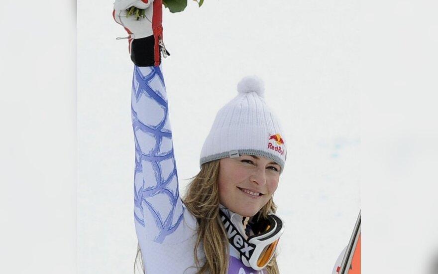 JAV kalnų slidininkė L.Vonn pasaulio čempionate iškovojo antrąjį aukso medalį