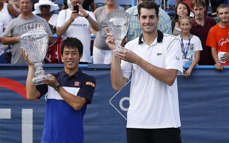 K. Nishikori įveikė J. Isnerį ir laimėjo turnyrą JAV