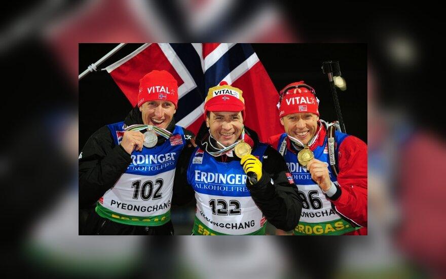 Norvegijos biatlonininkų triumfas planetos pirmenybių sprinto rungtyje