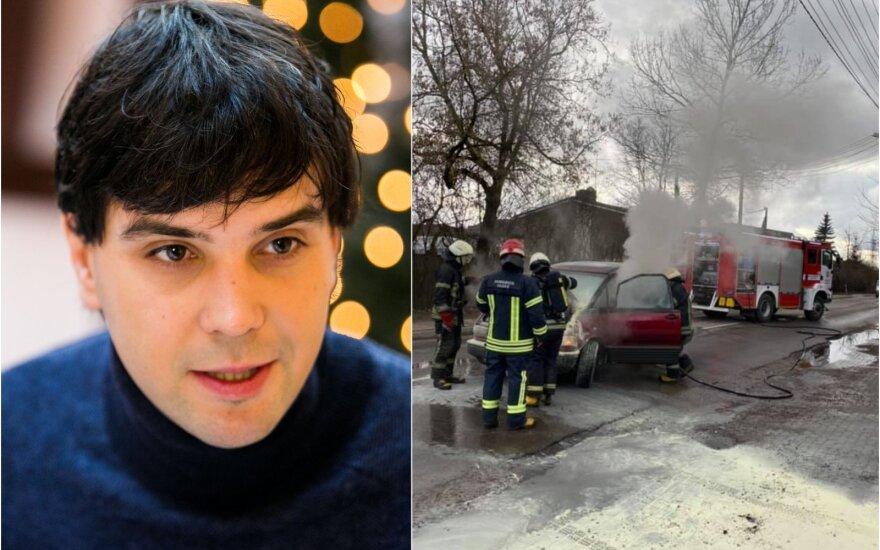 Užsiliepsnojo P.Skučo vairuojamas automobilis / Foto: asm.archyvo, Delfi