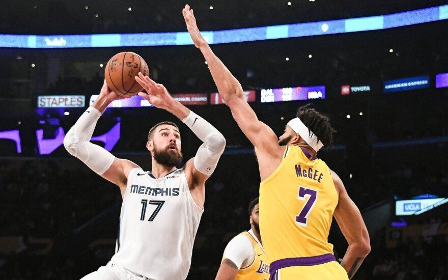 NBA: Grizzlies ir Lakers mūšis Los Andžele