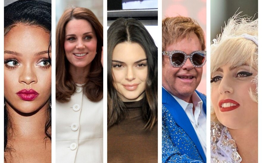 Rihanna, Kate Middleton, Kendal Jenner, Eltonas Johnas ir Lady Gaga