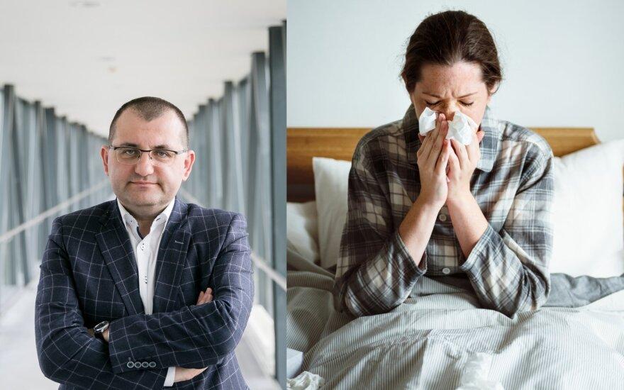 Profesorius Kasiulevičius įvardijo penkias situacijas, kai gripas gali virsti mirtimi grasančia komplikacija