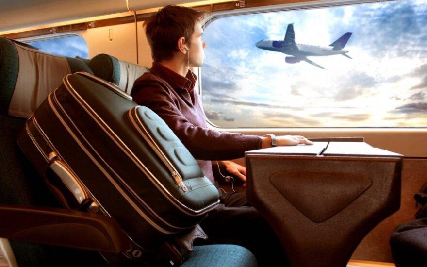 keliautojas, lėktuvas, orlaivis, langas, lagaminas