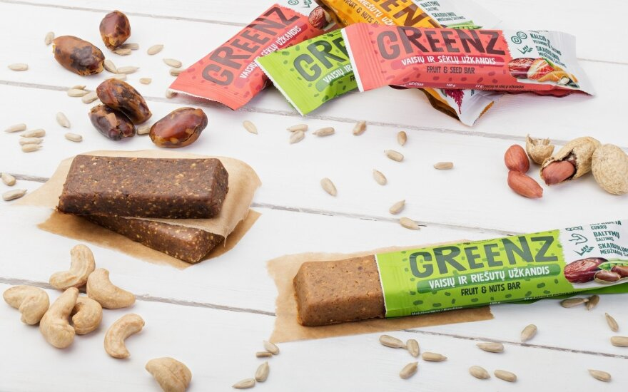 """Vaisių, riešutų ir sėklų užkandžiai """"Greenz"""""""