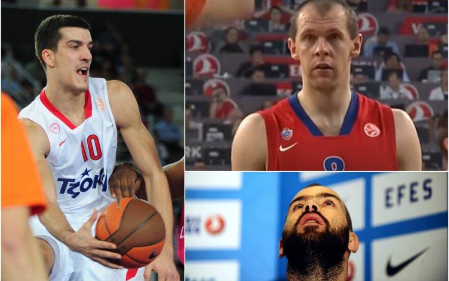 Marko Kešeljis (kairėje), Ramūnas Šiškauskas, Vassilis Spanoulis / Foto: AFP-Scanpix, Reuters-Scanpix