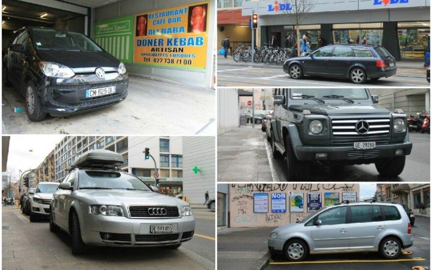 Automobiliai Ženevos gatvėse