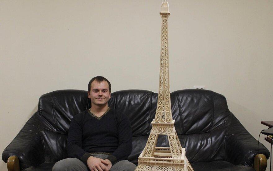 Eifelio bokštą iš pagaliukų pastatęs Aurimas: buvau lyg apsėstas