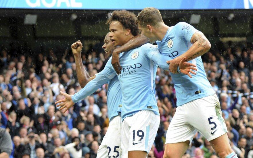 """""""Manchester City"""" gretose įvarčiu džiaugiasi Leroy Sane"""