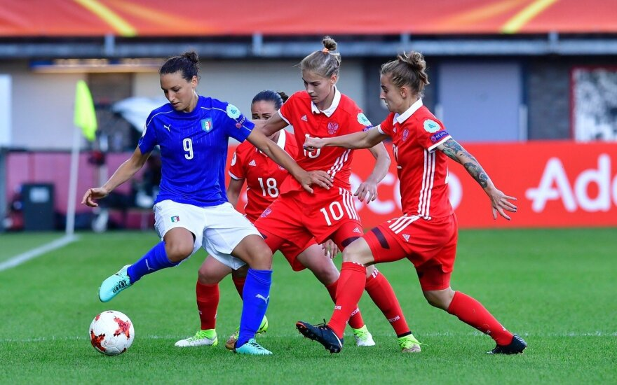 Rusijos ir Italijos futbolininkių susitikimas