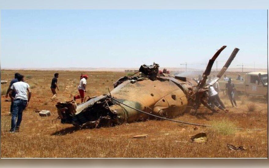 Iš numušto Libijos vyriausybės sraigtasparnio ištraukta 18 žuvusiųjų
