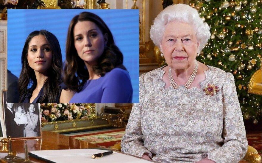 Karalienė Elžbieta II ir Meghan Markle bei Kate Middleton