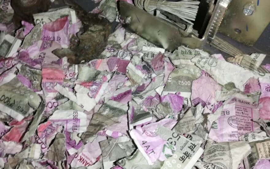Į bankomatą įlindusios žiurkės puota: krūvos banknotų virto mažais skuteliais