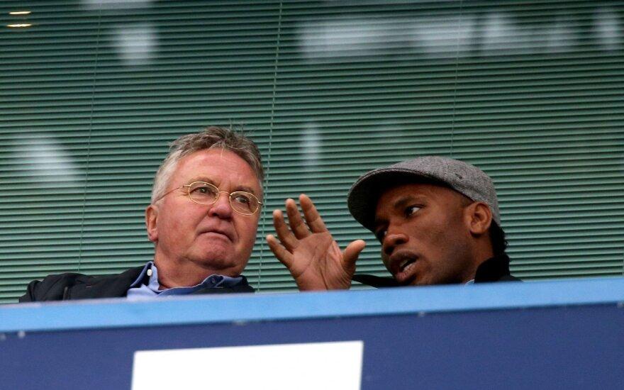 Guusas Hiddinkas ir Didier Drogba