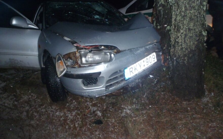 "Vilniaus r. ""Mitsubishi Colt"" rėžėsi į medį, keleivis žuvo"