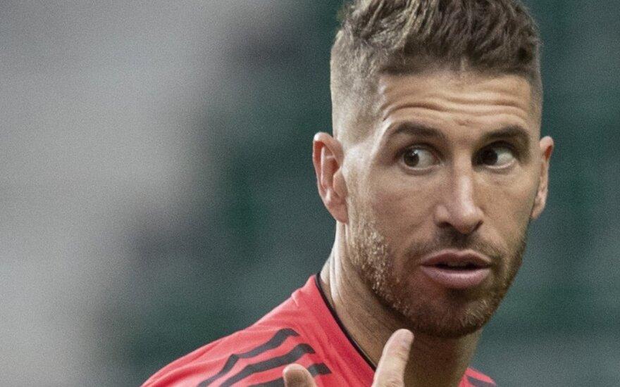 """Madrido """"Real"""" treniruotė Taline, Sergio Ramosas"""