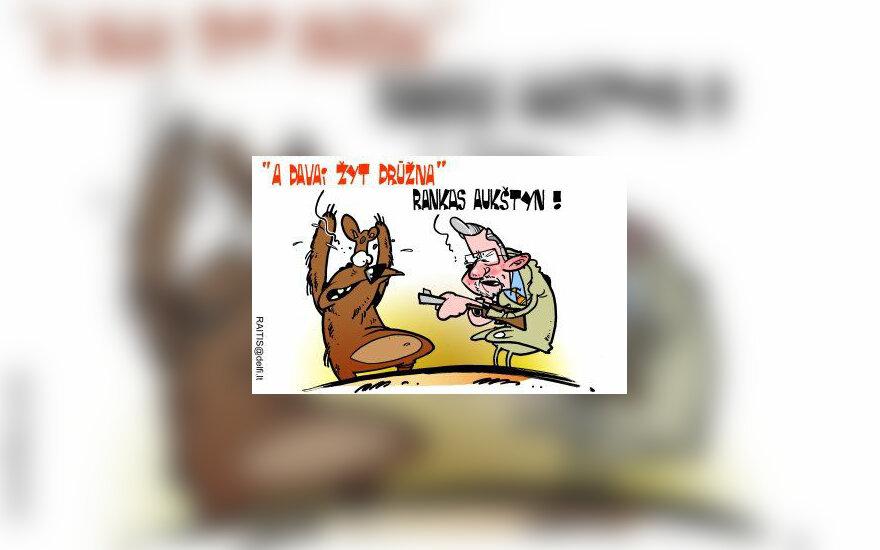 V.Landsbergis nerimauja dėl Rusijos keliamos grėsmės - karikatūra