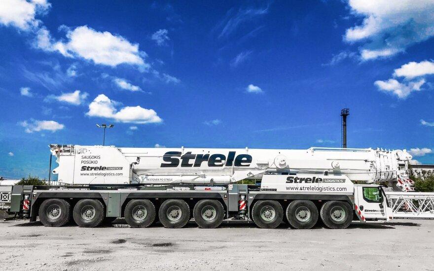 """""""Strėlė logistics"""" kranas su ilgiausia strėle Baltijos šalyse / Strėlė logistics nuotr."""