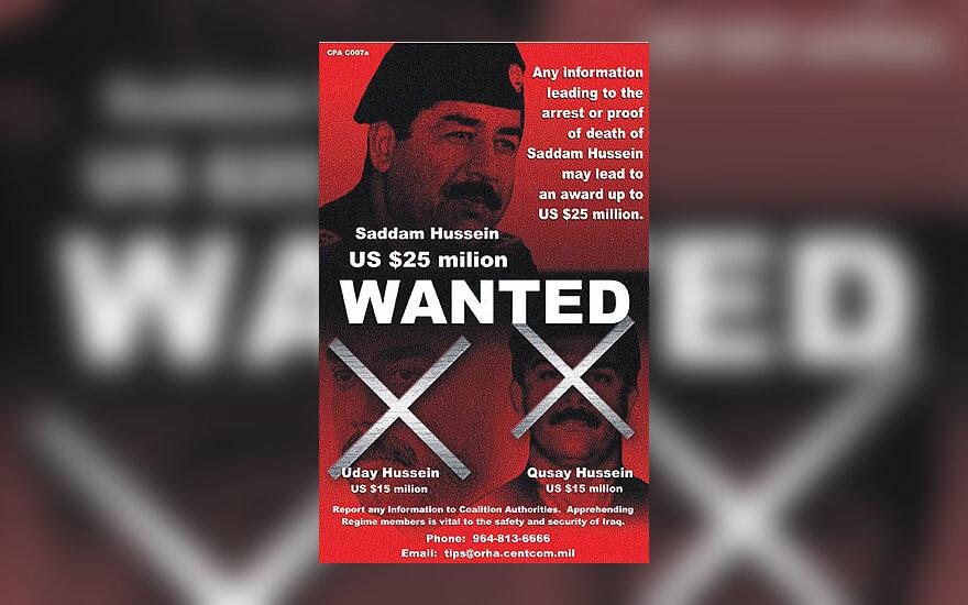Saddamo Husseino paieškos plakatas