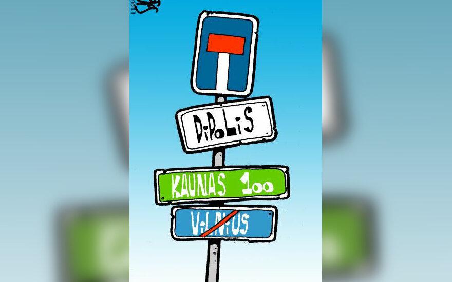 Vilniaus ir Kauno dipolio idėja - karikatūra