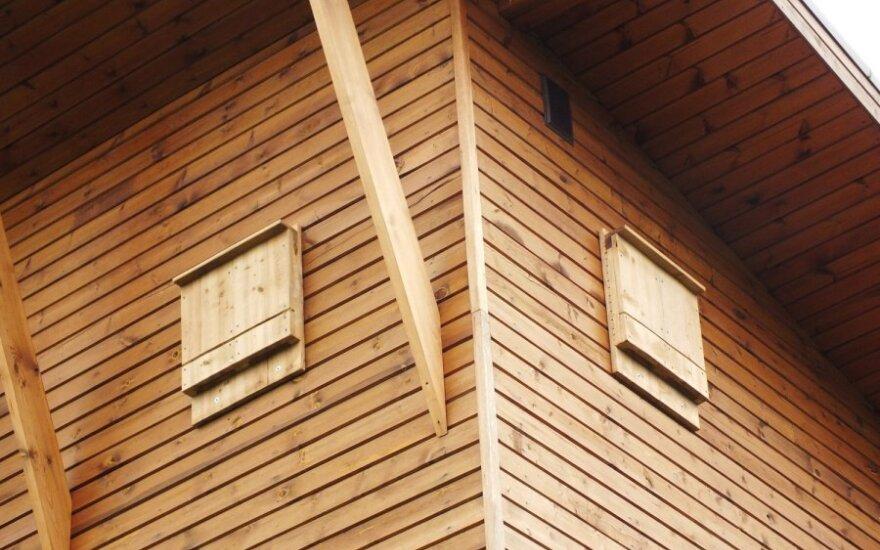 Šeškinė. Ant medinio namo inkilai beveik nepastebimi