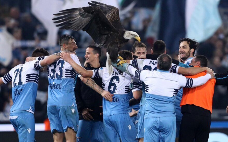 Romos Lazio triumfas miesto derbyje