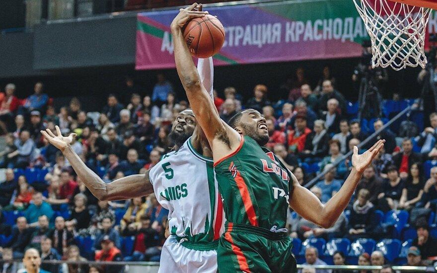 "Kazanės UNIKS ir Krasnodaro ""Lokomotiv"" mačo akimirka"