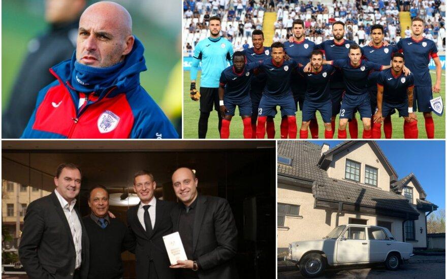 """Joao Martinsas (viršuje kairėje), Richardas Walshas (apačioje kairėje), Kauno """"Stumbras"""", buvusi klubo """"vila"""""""