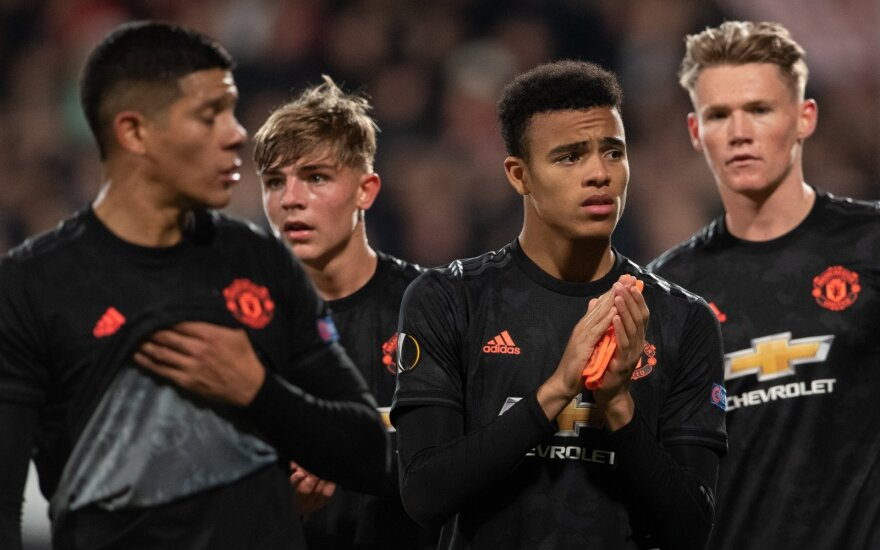 """""""Manchester United"""", Mason Greenwood (antras iš dešinės)"""