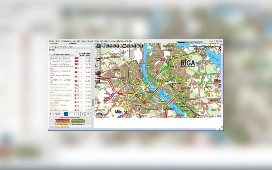 Interaktyvus Rygos transporto spūsčių žemėlapis
