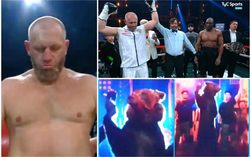 Garsus rusas į savo pirmą bokso kovą atsitempė mešką