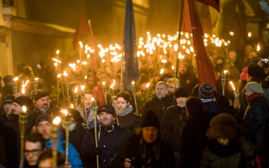 Around 300 people took part in an unsanctioned march in Vilnius organized by Lithuanian nationalists
