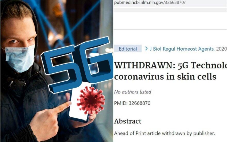 5G ryšį su koronavirusu siejęs darbas pašalintas iš JAV Nacionalinės medicinos bibliotekos duomenų bazės