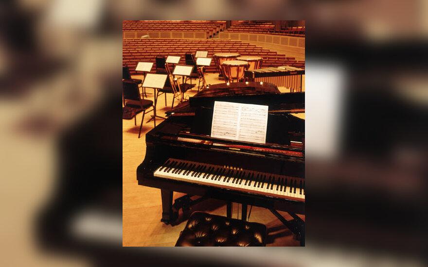 muzika, koncertas, garsas, fortepionas, orkestras
