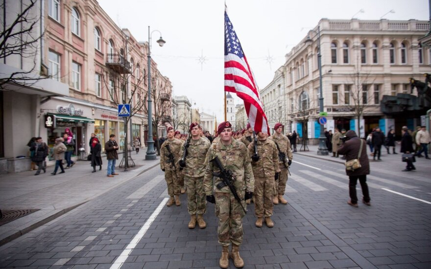 US Troops march on the Gediminas Av. in Vilnius