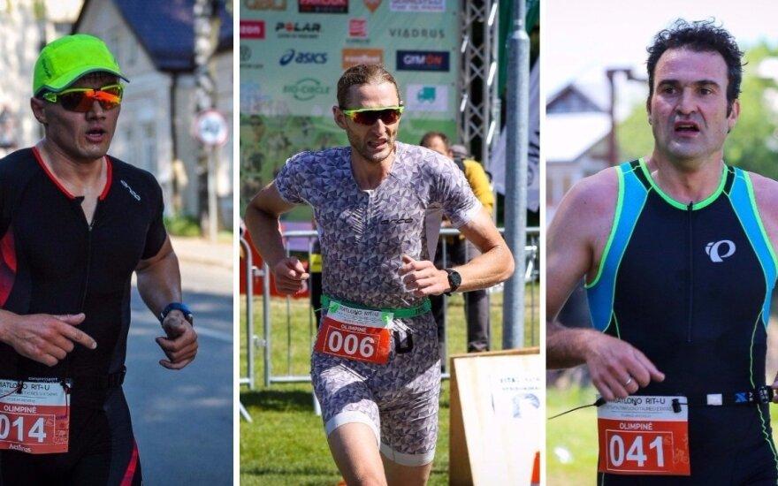 Lietuvos triatlono taurės lyderiai: T. Barštys (per vidurį), M. Butrimavičius (kairėje), A. Murauskas (dešinėje).