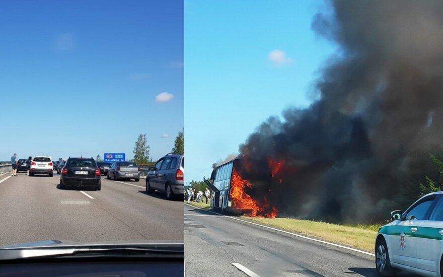 Greta Palangos užsiliepsnojo autobusas: išsigelbėjo 46 žmonės