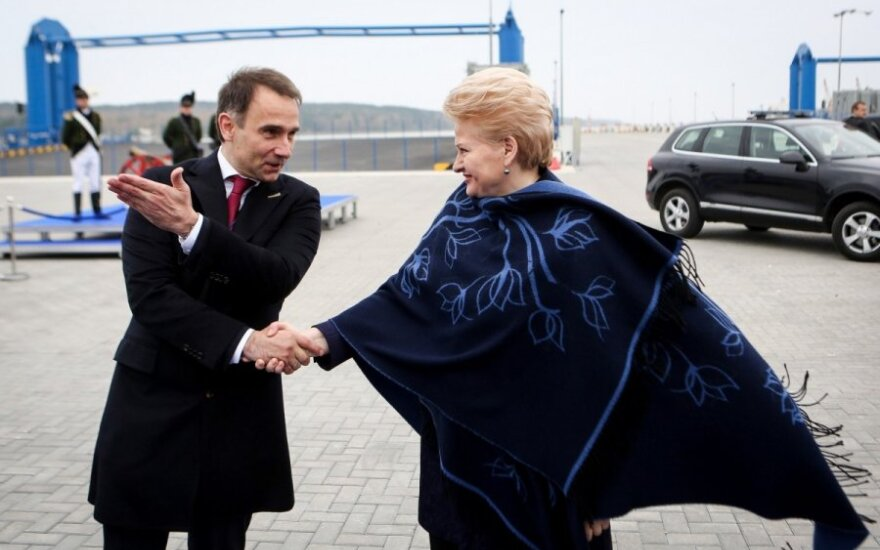 Energy Minister Masiulis and President Grybauskaitė at LNG terminal's welcoming ceremony