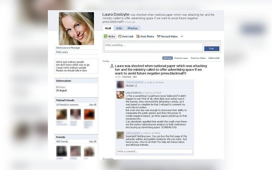 """""""Facebook"""" - L.Dzelzytės pareiškimas apie žiniasklaidos šantažą"""