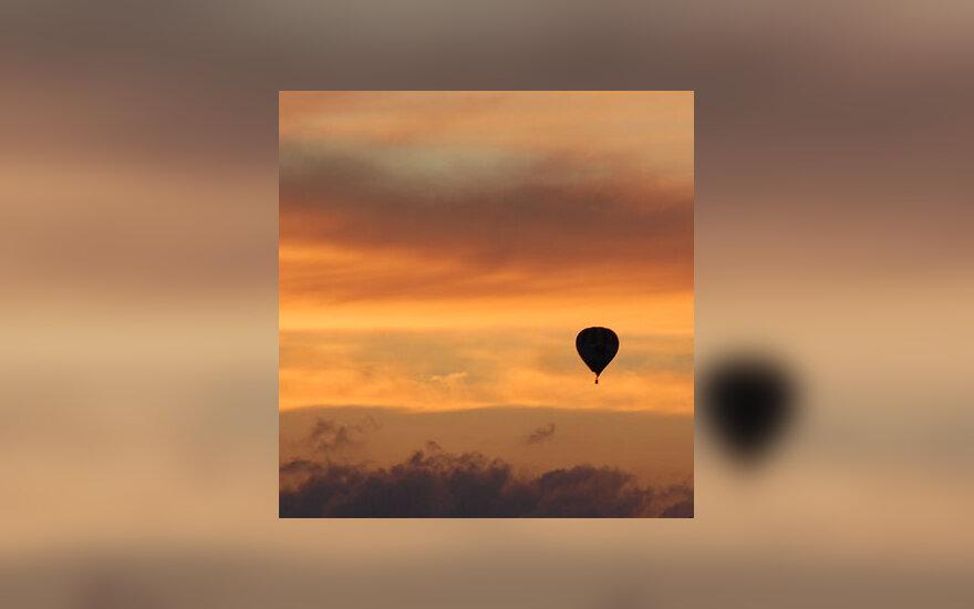 Saulėlydis, vakaras, dangus, oro balionas