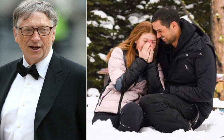 Billas Gatesas, jos duktė su sužadėtiniu /Foto: Scanpix ir Instagram