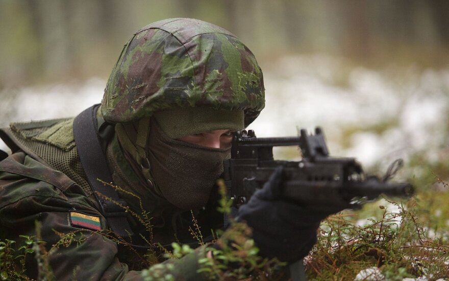 A Lithuanian military conscript