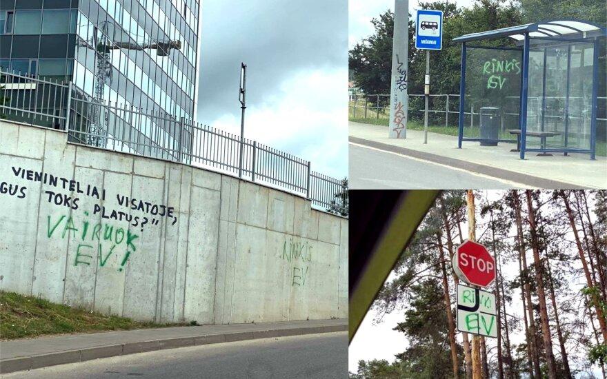Vilnius prašo pagalbos: chuliganų išteplioti kelio ženklai nebepataisomi, ieškomi liudininkai